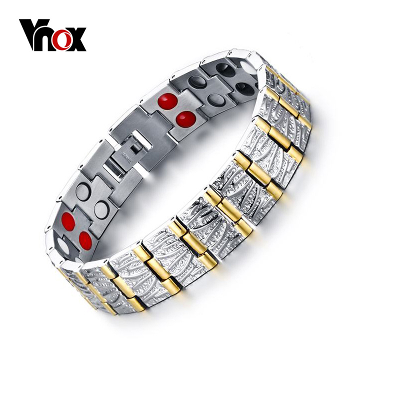 Vnox 100% Titanium Bracelets & Bangles Men Jewelry Health Power Magnetic Jewelry Free Box 38 2018 new arrivel fashion magnetic health men s jewelry bracelet trendy titanium chain link charm bracelets bangles for womens