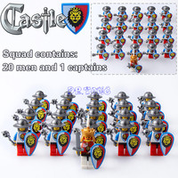 Medieval Castle Blue Lion King Knight Red Lion With Weapons Heavy Shield Building Blocks Figures Bricks