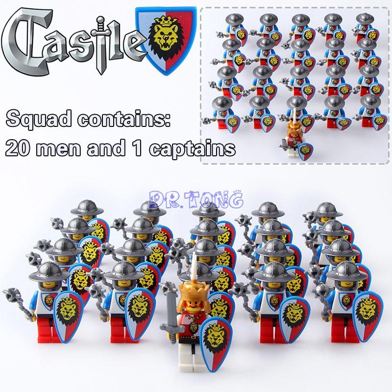 цена DR.TONG 21pcs/lot Medieval Castle Blue Lion King Knight Red Lion with Weapons Heavy Shield Building Blocks Bricks Child Toys онлайн в 2017 году