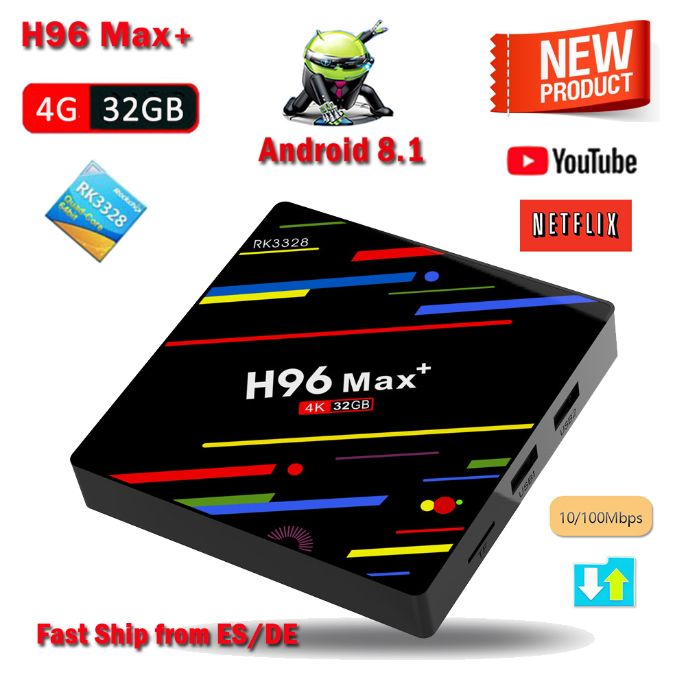 H96 Max Plus Android 8.1 TV BOX RK3328 4GB RAM 32GB ROM Set Top Box 4K H.265 HDR10 USB 3.0 WIFI HD Smart Media Player H96 Max a5x max android 8 1 tv box rk3328 4gb ram 32gb rom usb 3 0 2 4ghz wifi bluetooth media player 4k hd smart set top box pk mx10