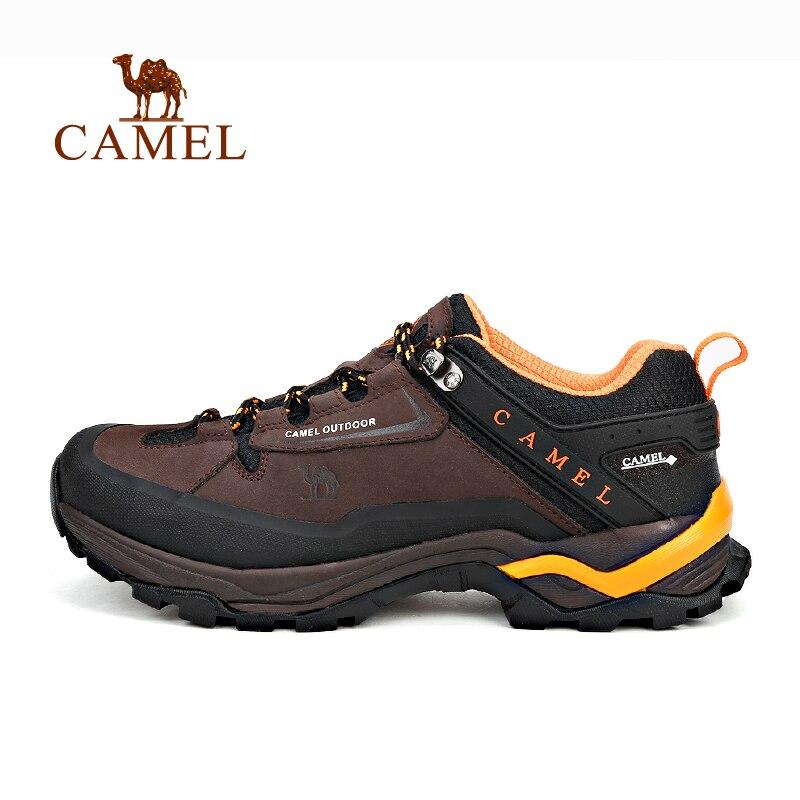 Верблюд Открытый Пеший Туризм обувь для Для мужчин кожа скольжению воздухопроницаемая комфортная обувь Водонепроницаемый кемпинг восхожд...