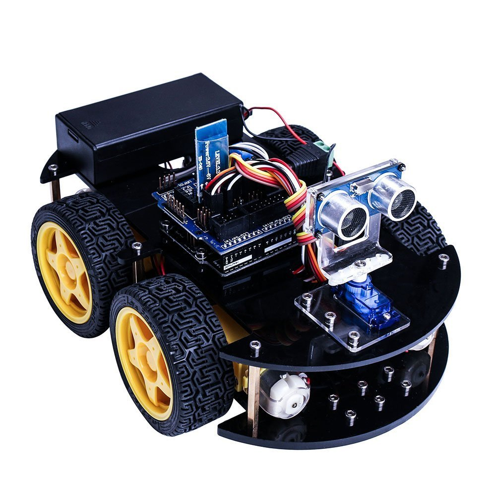 Smart Robot Car Kit for font b arduino b font UNO R3 with Ultrasonic Sensor Bluetooth