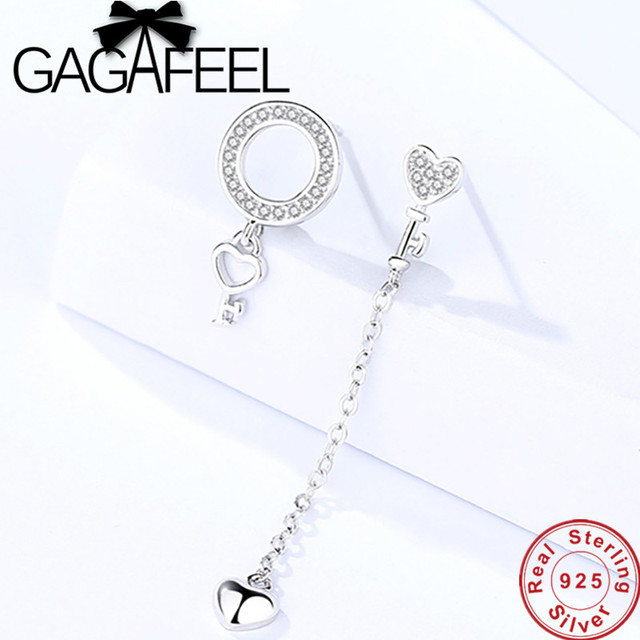 9f3d069e3 GAGAFEEL Fashion 925 Sterling Silver Asymmetry Earrings
