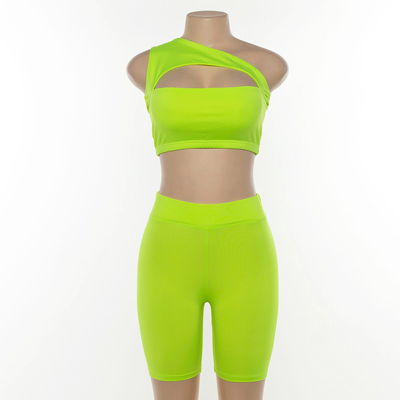 Simenual Neon Color Women Two Piece Set One Shoulder Casual Tracksuits Cut Out Crop Top And Biker Shorts Sets Sporty Active Wear 4