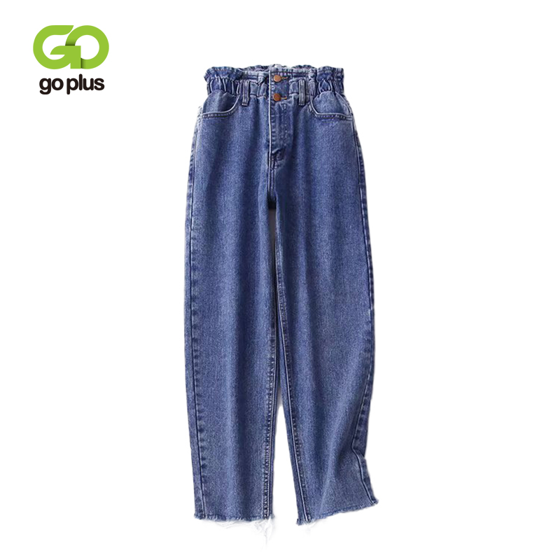 GOPLUS Plus Size 2019 Autumn New Blue Harem Pants Vintage Elastic High Waist   Jeans   Womens Ankle- Length   Jeans   Loose Pants C6658