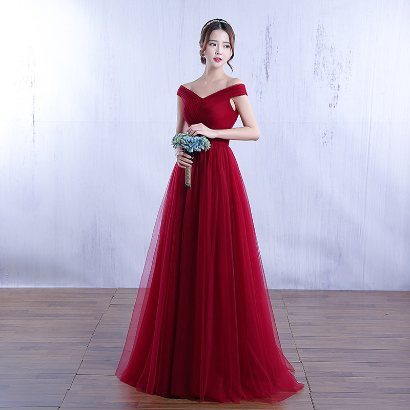 Free Shipping Pregnancy Pink Wine Red Floor Length Prom Dresses Tulle Boat Neck Women Party Gowns 2017 Summer Custom Made YA003 1
