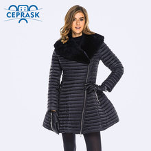Ceprask 2016 High Quality women's winter coats Plus Sizefemale jacket Slim Belt fashion Warm Parka camperas casaco