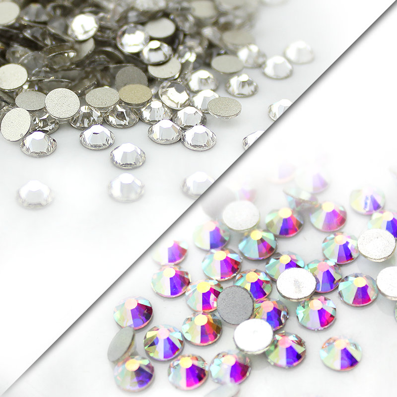 QIAO SS3-SS40(1.3mm-8.4mm) AAA rhinestone crystal AB clear Non Hotfix flatback Rhinestones for Nails 3D nail art decoration gems