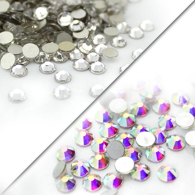 QIAO SS3-SS40(1.3mm-8.4mm) AAA rhinestone crystal AB clear Non Hotfix flatback Rhinestones for Nails 3D nail art decoration gems(China)