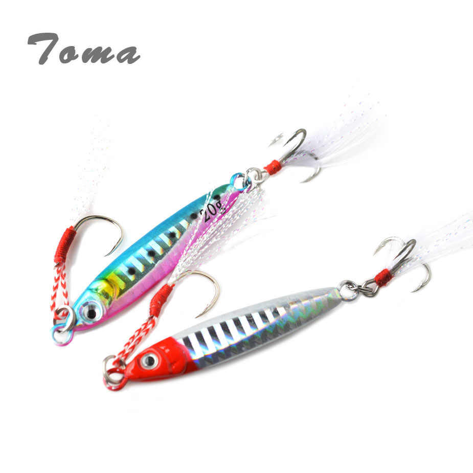 TOMA Mini Jig Metal Fishing Lure Spoon 20g 40g Long Cast Lead Fish Jigging Sea Bass Lure Artificial Bait Tackle