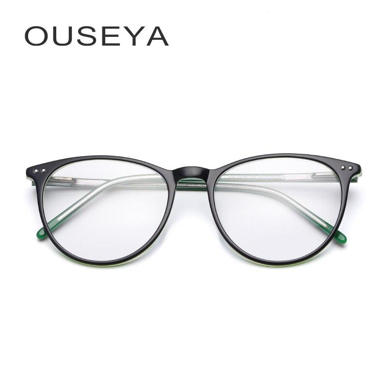 Acetate Eyeglasses For Women Fashion Ultra Light Retro Oval Clear Transparent Armacoes De Glasses Frame Female
