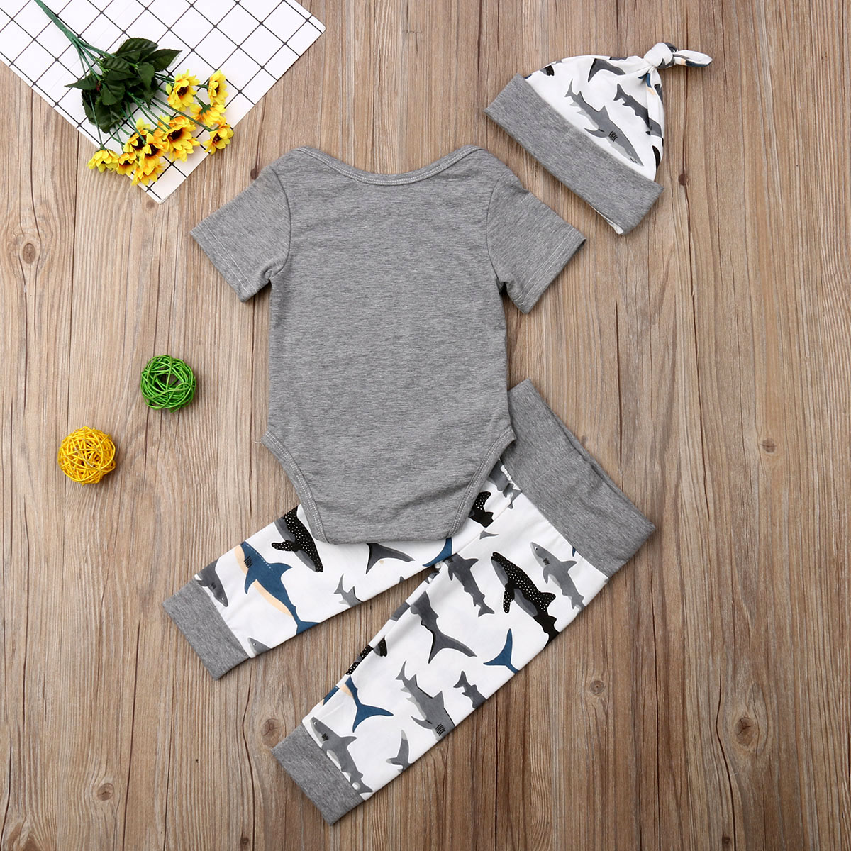 Fashion For Infant Baby  Boy Cotton Bodysuit+Long Pants + Hat 3pcs Bodysut Set