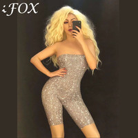 Sexy 2 Colors Sparkly Rhinestones Mesh Playsuits Strapless Sleeveless Women Stage Dance Bodysuits Birthday Celebrate Party Wear