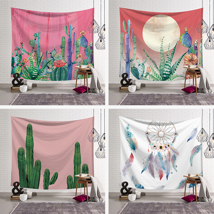 New Feather Wind Chimes Mandala Wall Hanging Cactus Tapestry Cover Beach Towel Throw Picnic Yoga Mat Home Decoration Textiles