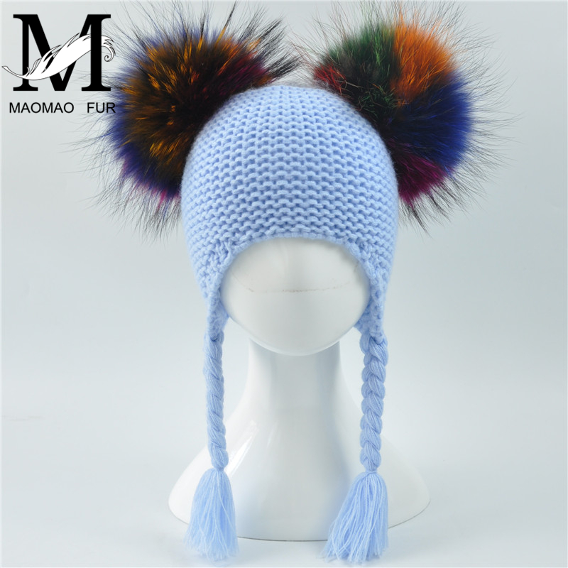 Baby Hat Autumn Winter 2017 Beanie Hat With Double Real Fur Pompom Warm Wool Toddler Cap Multicolor Kids 2 Real Fur Pom Pom Hat