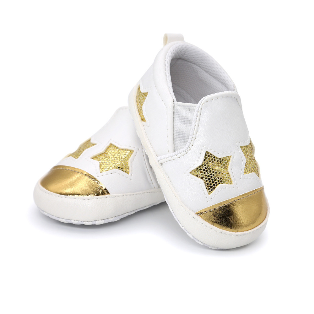 HONGTEYA star baby shoes pu leather shoes baby boys firstwalker Girls soft sole Crib Shoes