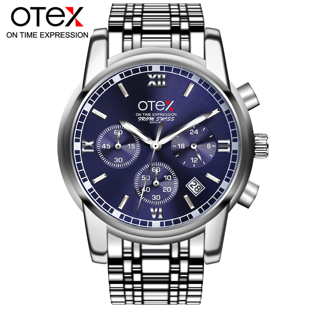 OTEX New Fashion black big dial Men Designer Quartz Watch Male Wrist watch relogio masculino relojes ot01 watches men luxury top brand new fashion men s big dial designer quartz watch male wristwatch relogio masculino relojes