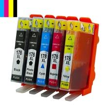 Hisaint caliente cartuchos de tinta de 178 cartuchos de tinta xl para hp 178 b010b/b109c/b110a b209b/b210b c309h/c310b todo-en-uno printer-c309c