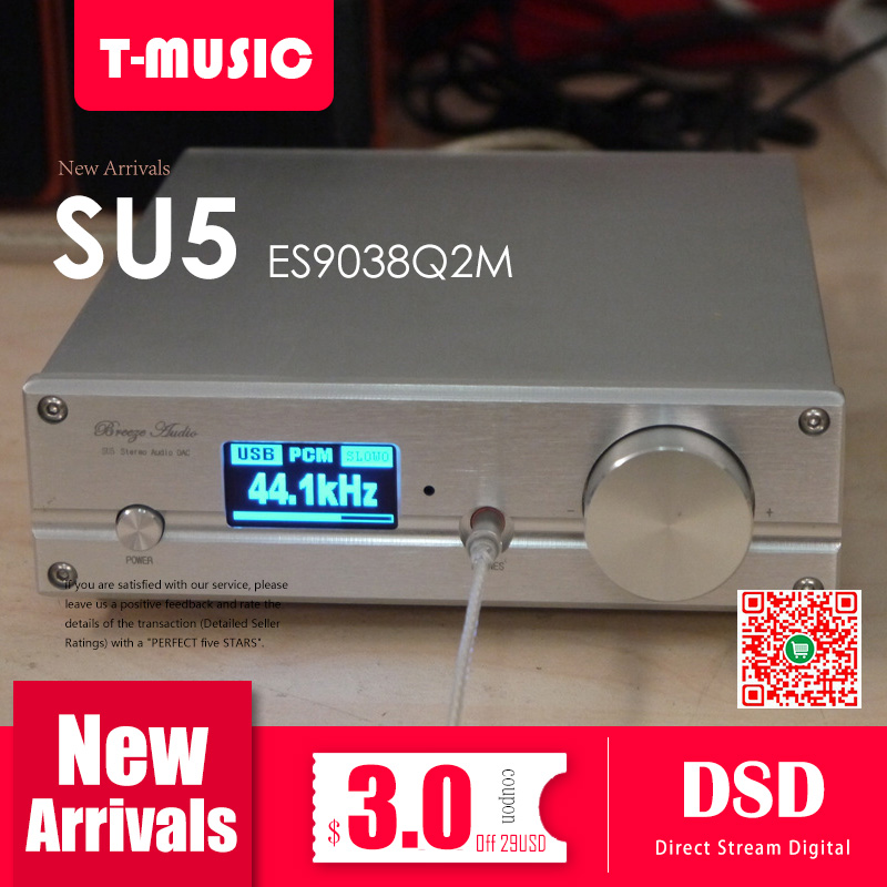 TOP ES9038 Q2M DAC Decoder With XMOS XU208 USB Bluetooth 5 0 TPA6120 Headphone Amplier Support