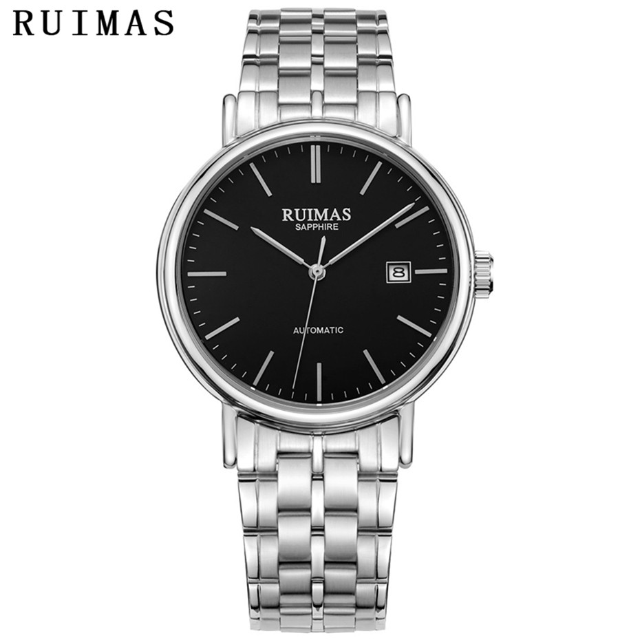 RUIMAS mężczyźni proste klasyczne zegarek mechaniczny ruch mężczyzna biznes luksusowe automatyczne zegarki na rękę zegar Montre Homme MIYOTA 8215 w Zegarki mechaniczne od Zegarki na  Grupa 2