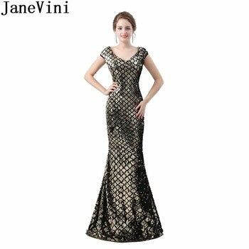 JaneVini Luxurious Gold Sequined Formal Prom Dress Mermaid Black Sheer Back Bridesmaids Dresses For Women V Neck Damigelle 2018