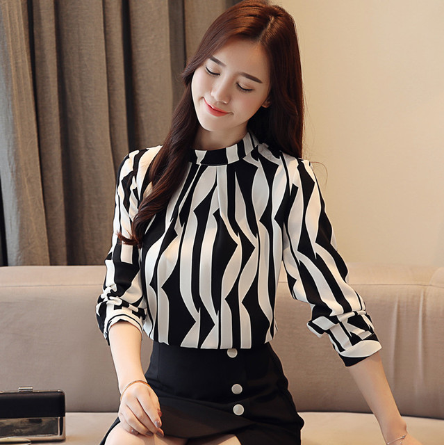 fashion  blouse long sleeved printed  top  stand collar blouses slim fit office  blusa