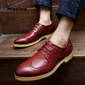 British New Men Oxfords Male Pointed Toe Leather Brogue Flats 2017