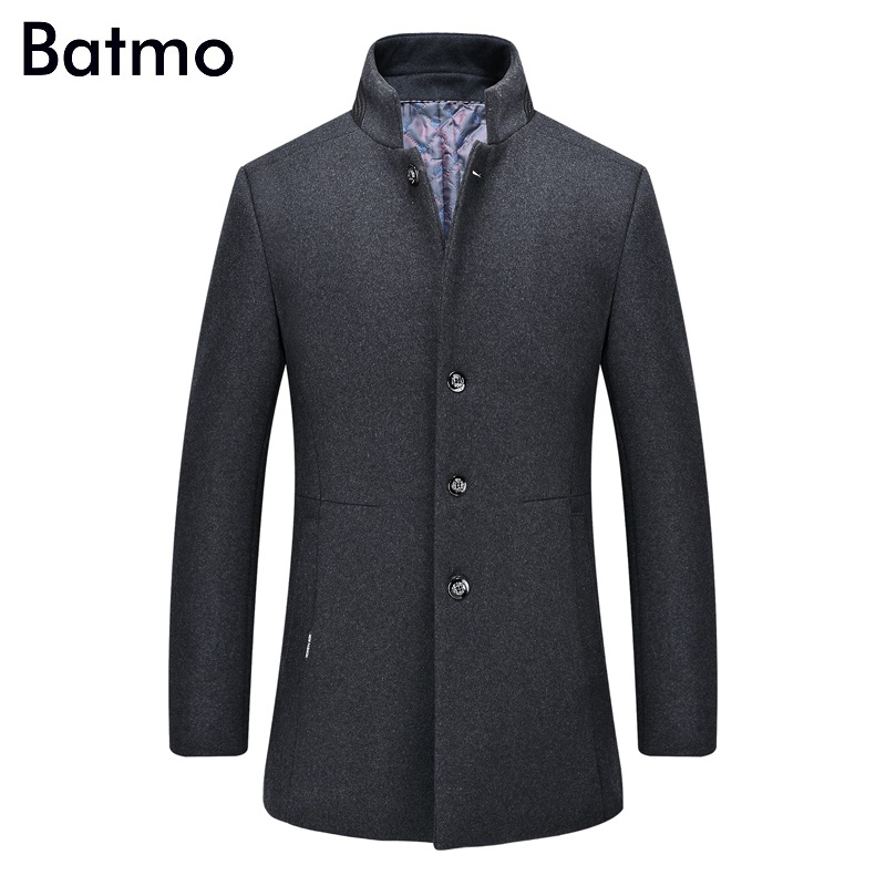 Batmo 2017 new arrival winter high quality wool men s gray Single Breasted trench coat winter