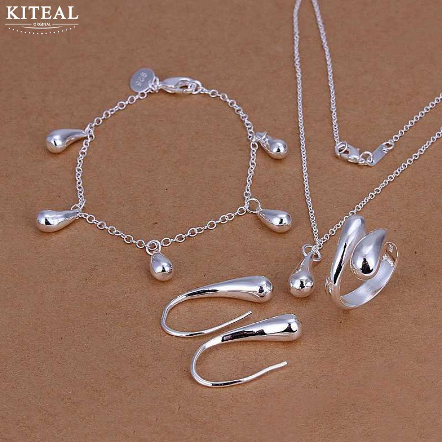 Kiteal Jewelry-Set Bangle Earring-Ring Necklace Bracelet Silver-Plated High-Quality SMTS223