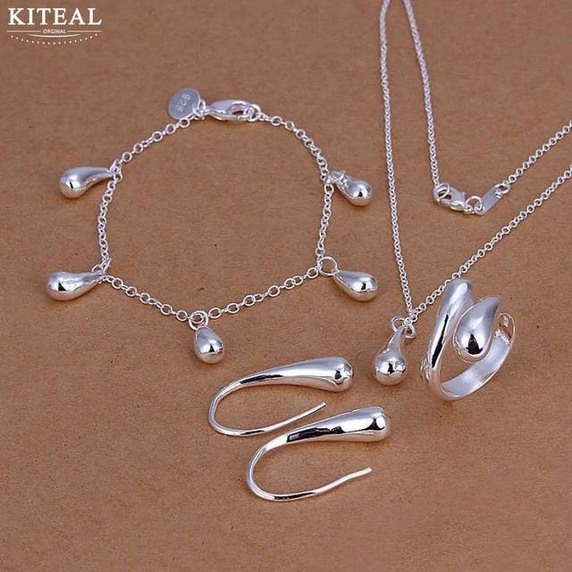 Kiteal High quality jewelry set 925 stamped silver plated water drop jewelry set