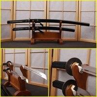 High Carbon Steel Fully Handmade Black Samurai Katana + Wakizashi Swords Set Blade Full Tang Sharp Edge Knives Can Cut Bamboo