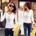 Nova moda Preto e Branco blusas t camisa mulheres coreano estilo sexy Com Decote Em V encabeça tee roupas de manga Comprida T-shirt Magro totalidades