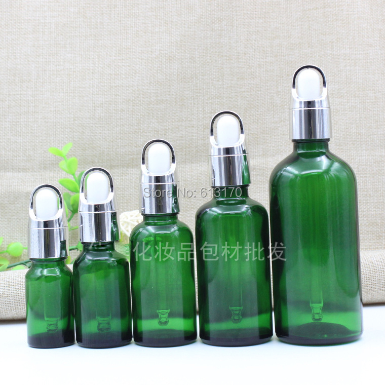 3d60c6aeeb89 US $34.58 |5ml,10ml,15ml,20ml,30ml,50ml,100ml Green Glass bottles,Basket  Dropper,Empty Essential Oil Glass Vials Silver Collar White rubber-in ...