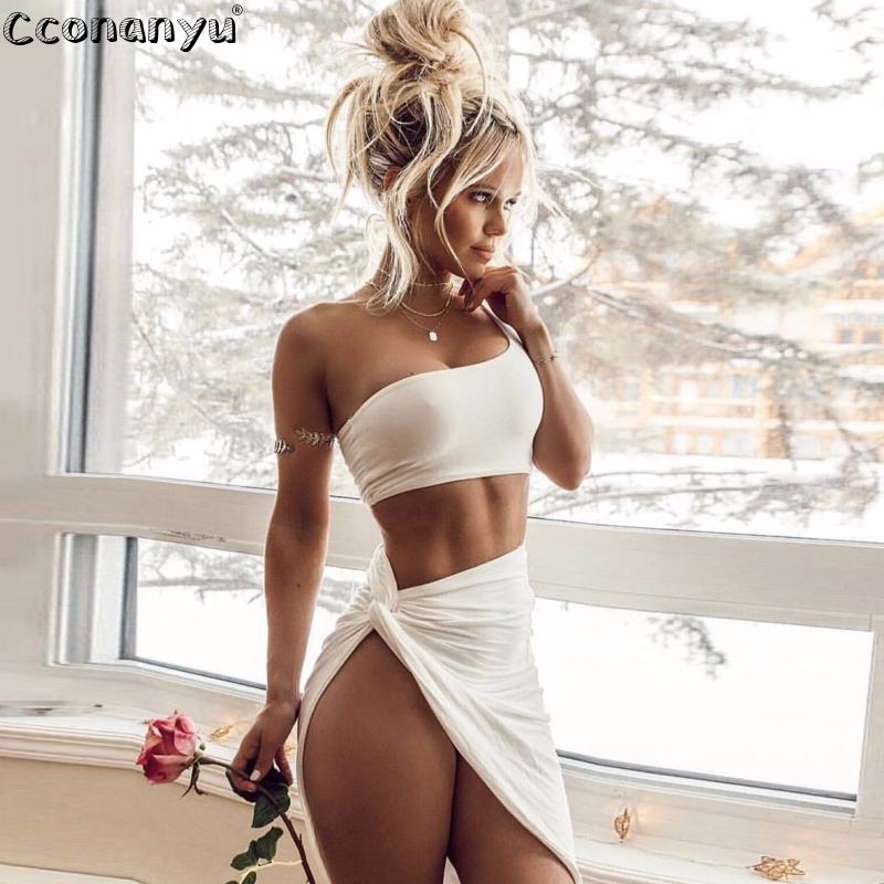 2019 2 <font><b>Piece</b></font> <font><b>Set</b></font> <font><b>Women</b></font> Sexy Crop One Shoulder Top and Irregular <font><b>Skirt</b></font> <font><b>Two</b></font> <font><b>Piece</b></font> Outfits <font><b>Women</b></font> for Summer Clothes image