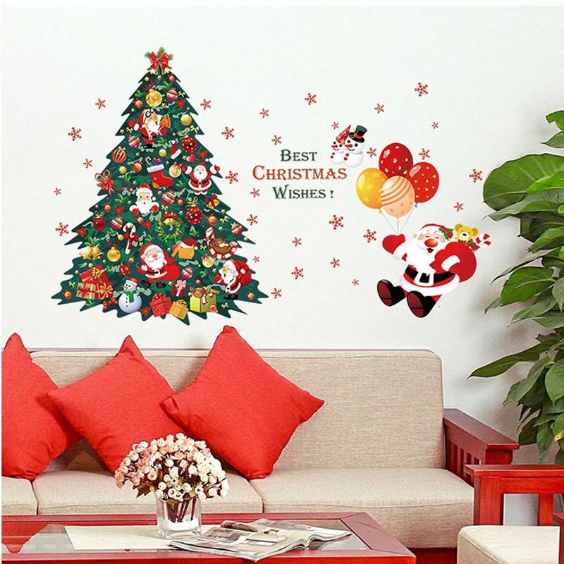 Рождественская елка, санта-клаус, настенные наклейки, рождественские украшения, новогодние стеклянные наклейки на окна, домашний декор худ...