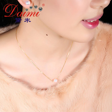 [DAIMI] Akoya Pearl 18K  Pendant Necklace  8-8.5mm Natural Gold And White Akoya Sea Pearl  Necklace Simple Jewelry For Women
