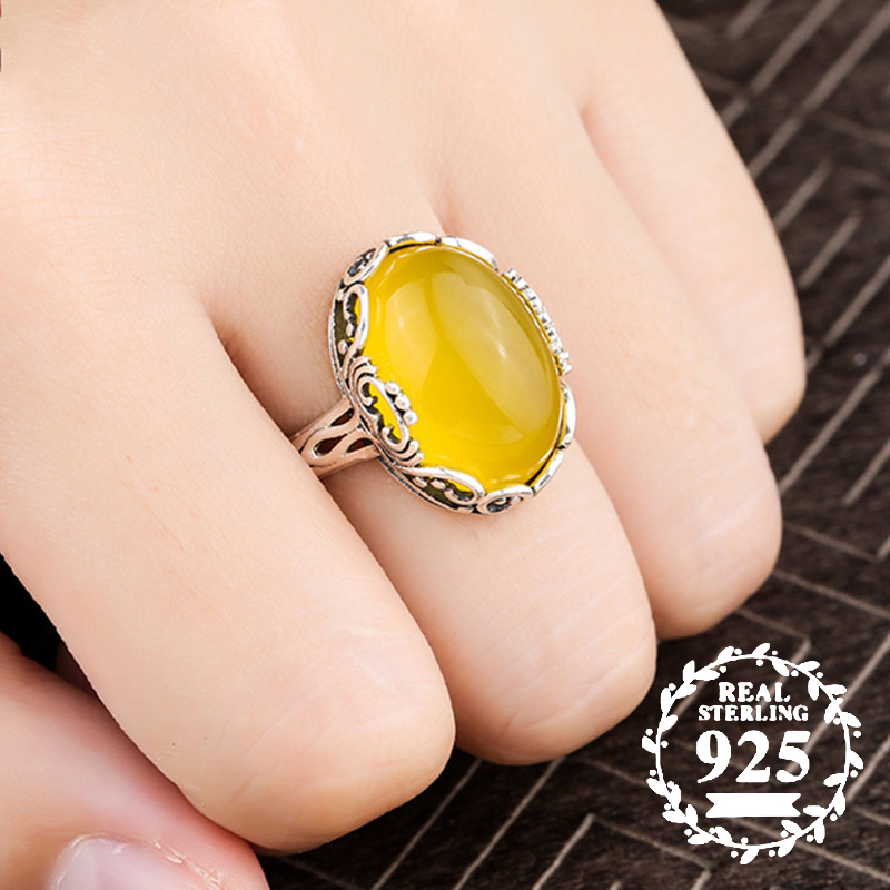 13*18mm NOT FAKE S925 Sterling Silver Poland Amber Rings Exaggerated Rings upper class lithuania Retro Chalcedony13*18mm NOT FAKE S925 Sterling Silver Poland Amber Rings Exaggerated Rings upper class lithuania Retro Chalcedony