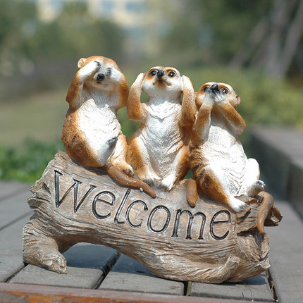 Garden mongoose Welcome Sign Garden Greenland Welcome Sign Pastoral Style Animal Decoration Villa Decorations free shipping