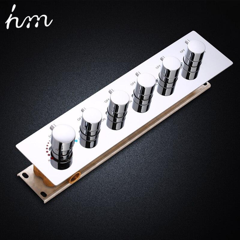 Hm Válvula de Chuveiro Do Banheiro Acessórios 5 formas de Grande Fluxo De Água Do Chuveiro Desviador De Bronze Torneira Chuveiro Termostática Controlador