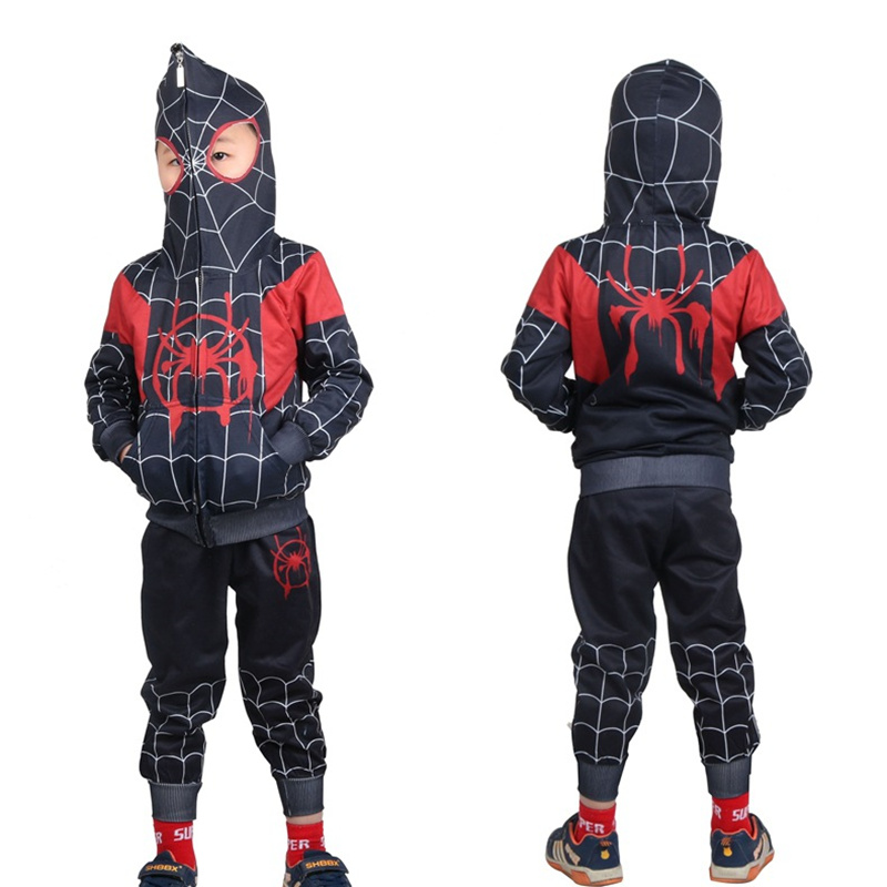 Spiderman Cosplay Costumes For Boys Jacket Pant Sets Kids Superhero Cosplay Halloween Costumes For Kids Carneval Costume For Kid