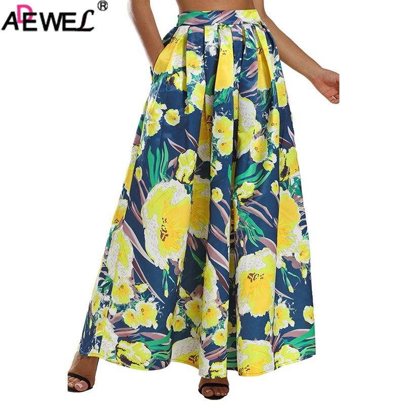 ADEWEL imprimé Floral femmes longue jupe taille haute évasée Maxi jupe 2019 élégant une ligne plage jupe Vintage dames d'été jupe