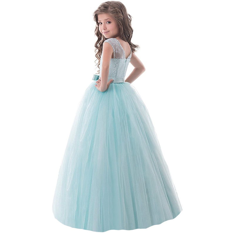 Infant Princess Girls Flower Long Evening Dress Children's Girl Ceremony Dresses Wedding Tulle Formal Teenage Girl Party Dress 5 16y teenage girls white long high waist flower princess wedding dress kid prom costume formal gown clothes for girl ceremony