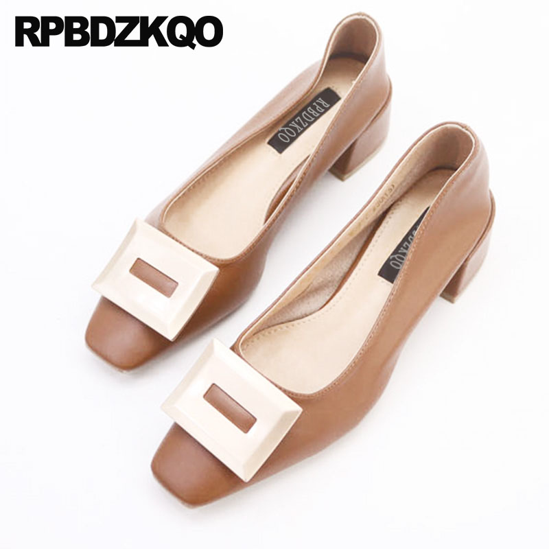 Slip On Beige Block Fashion Thick Square Toe Elegant Women Shoes 2018 Medium Heels Cheap Korean Pumps Brown Modern Metal High sandals metal strap pumps square toe beige vintage medium 2017 women shoes high heels size 33 slingback belts block chinese
