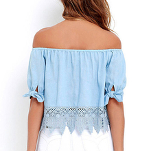 Sexy Off Shoulder Hook Flower Hollow Lace Blouse Tops