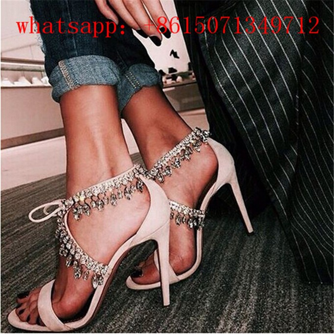 2016 New Hot Sale Rhinestone Studs Crystal Fringe Ankle Lace up Women Sandals Sexy High Heel Party Wedding Sandals Woman Shoes new hot sale fashion rivets flowers studs chunky heel women sandals ankle flowers buckle party office shoes woman casual sandals