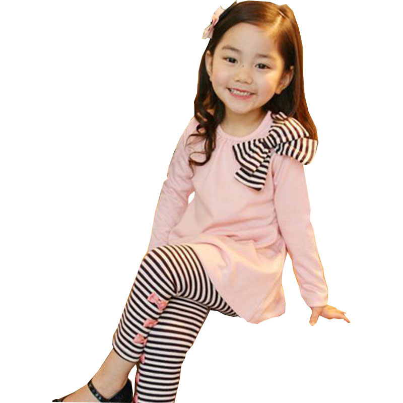 kids Spring and Autumn section girls Korean version of the girls bow shirt stripe leggings children two sets 2 3 4 5 6 7 years original and new 7inch lcd screen with touch screen claa070vc01 free shipping