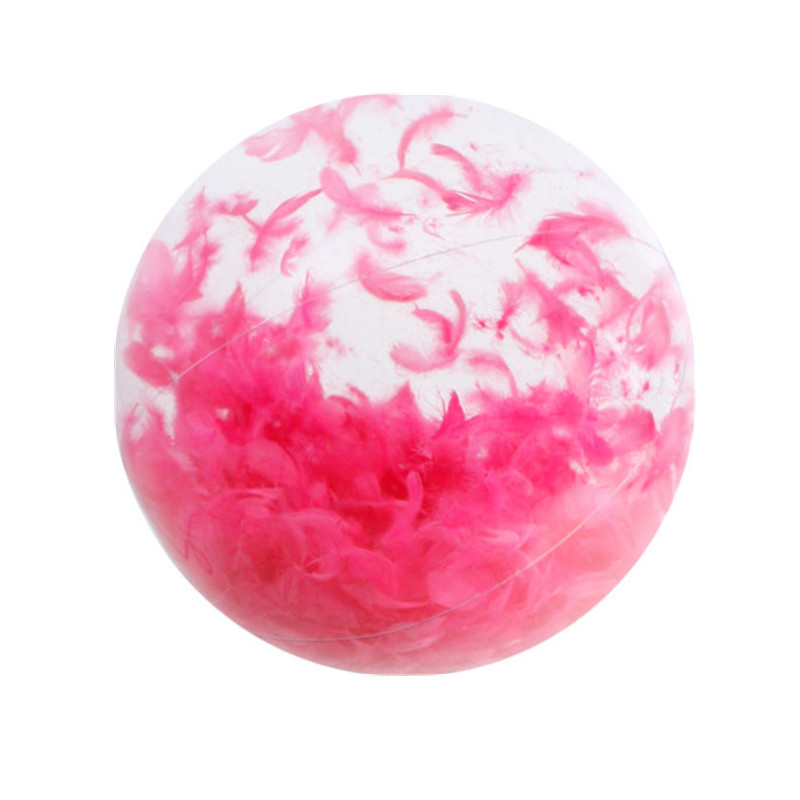 NEW Inflatable Giant Beach Ball With Feathers Pink Bright 28cm Pool Beach Toy Summer Water Beach Party Toys