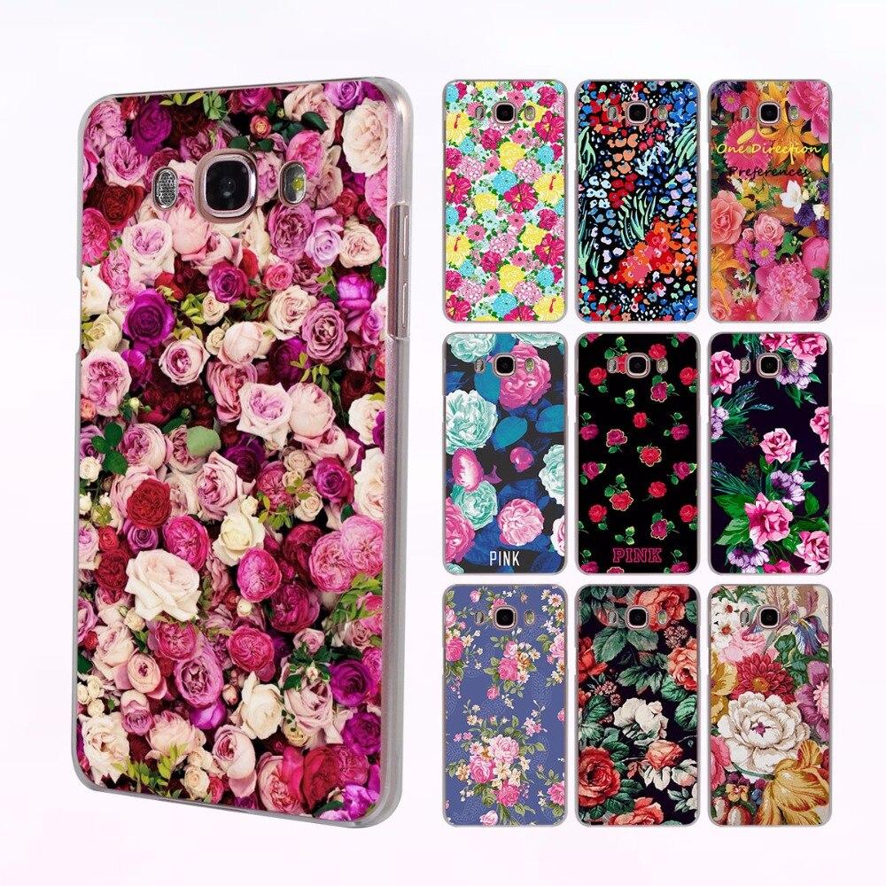 Beautiful Rose Peony Flower design hard transparent clear Case for Samsung Galaxy J5 J7 2017 J5 J2 Prime J3 J1 2016