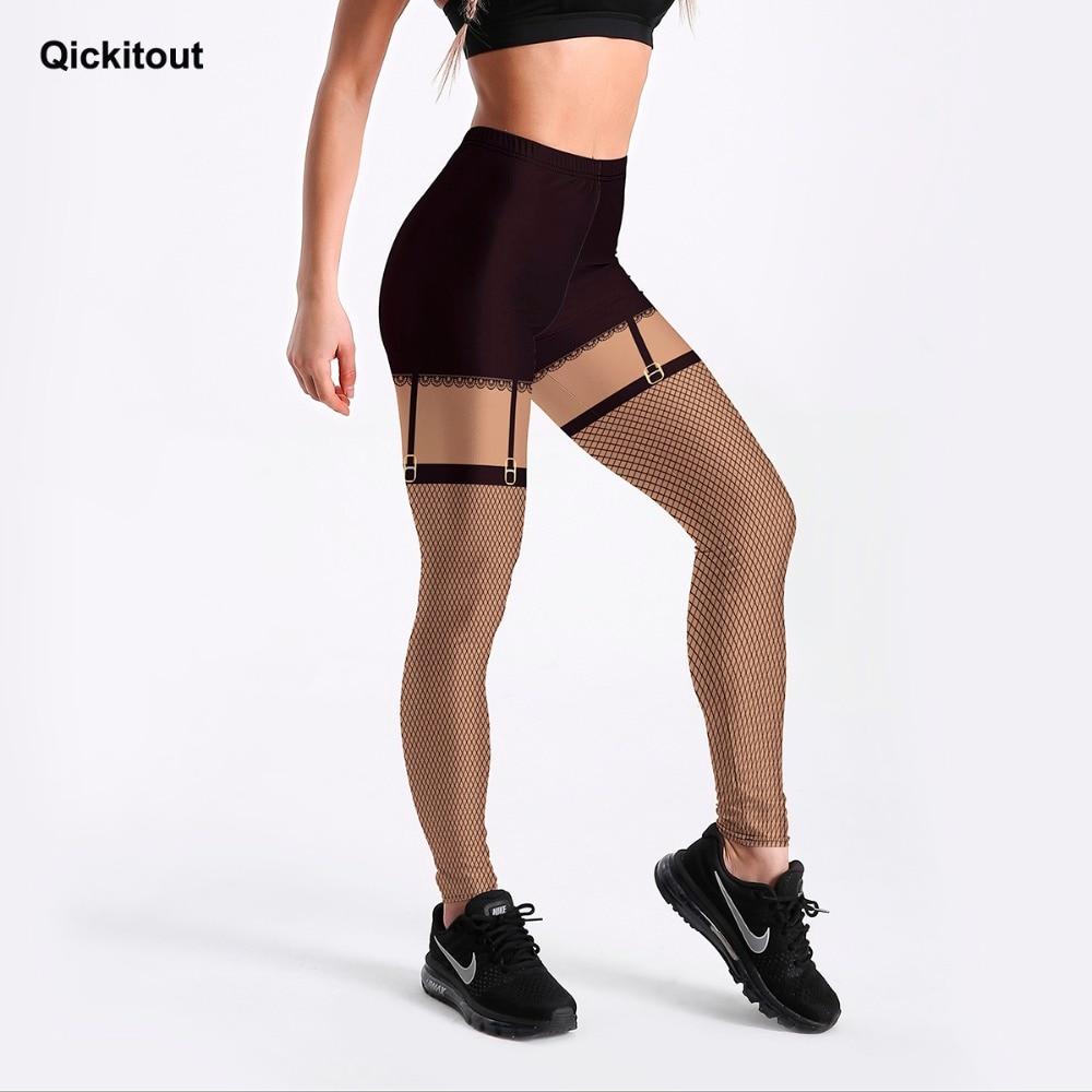 Qickitout 3D Digital Style Leggings For Women Black Detachable Mesh Pants Printed Leggings Slim Workout Fitness Casual Pants