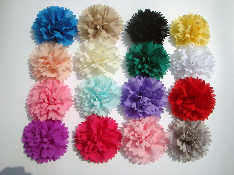 2014 new candy clor Chiffon Flower for Headband Infant Baby diy fabric flower flat back children Hair Accessories 30ps/lot